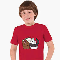 Дитяча футболка для хлопчиків Вся правда про ведмедів (We Bare Bears) (25186-2665-RD) Червоний, фото 1