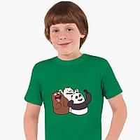 Детская футболка для мальчиков Вся правда о медведях (We Bare Bears) (25186-2665-KG) Зеленый, фото 1