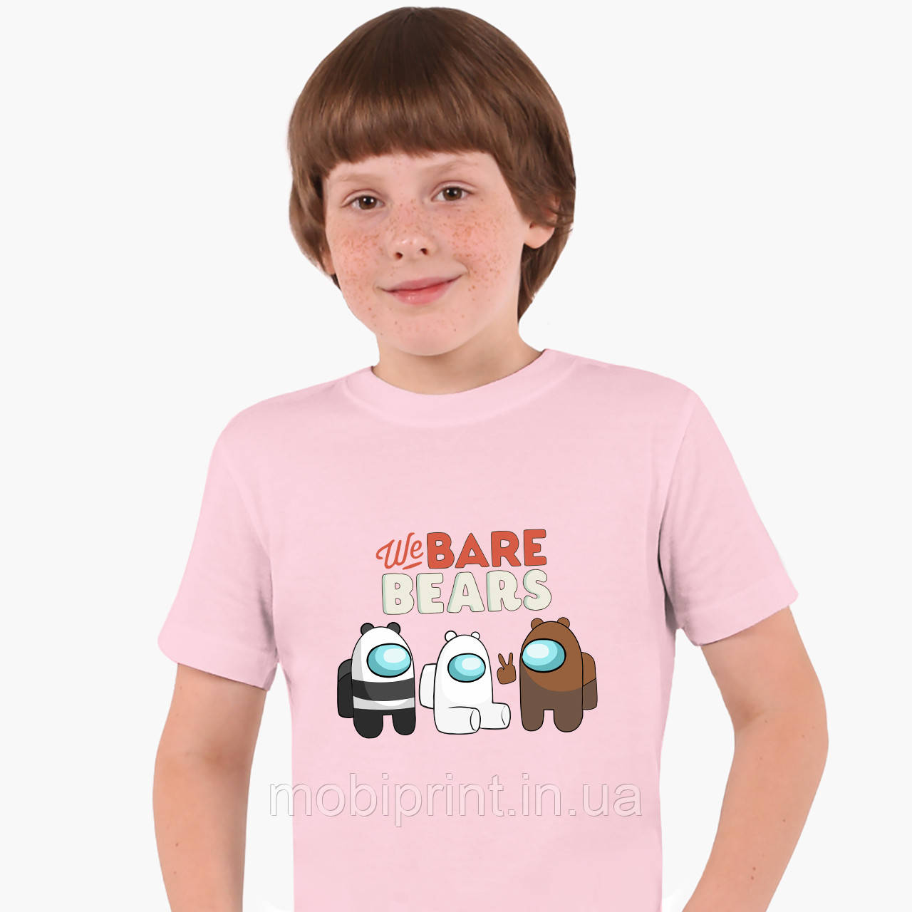 Дитяча футболка для хлопчиків Вся правда про ведмедів (We Bare Bears) (25186-2668-PK) Рожевий