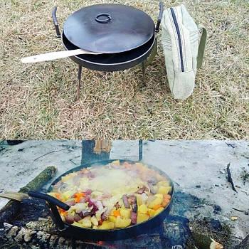 Сковорода туристическая из диска бороны 30 см с крышкой и чехлом