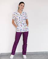 Медицинский женский костюм Топаз принт MediKids, фото 1