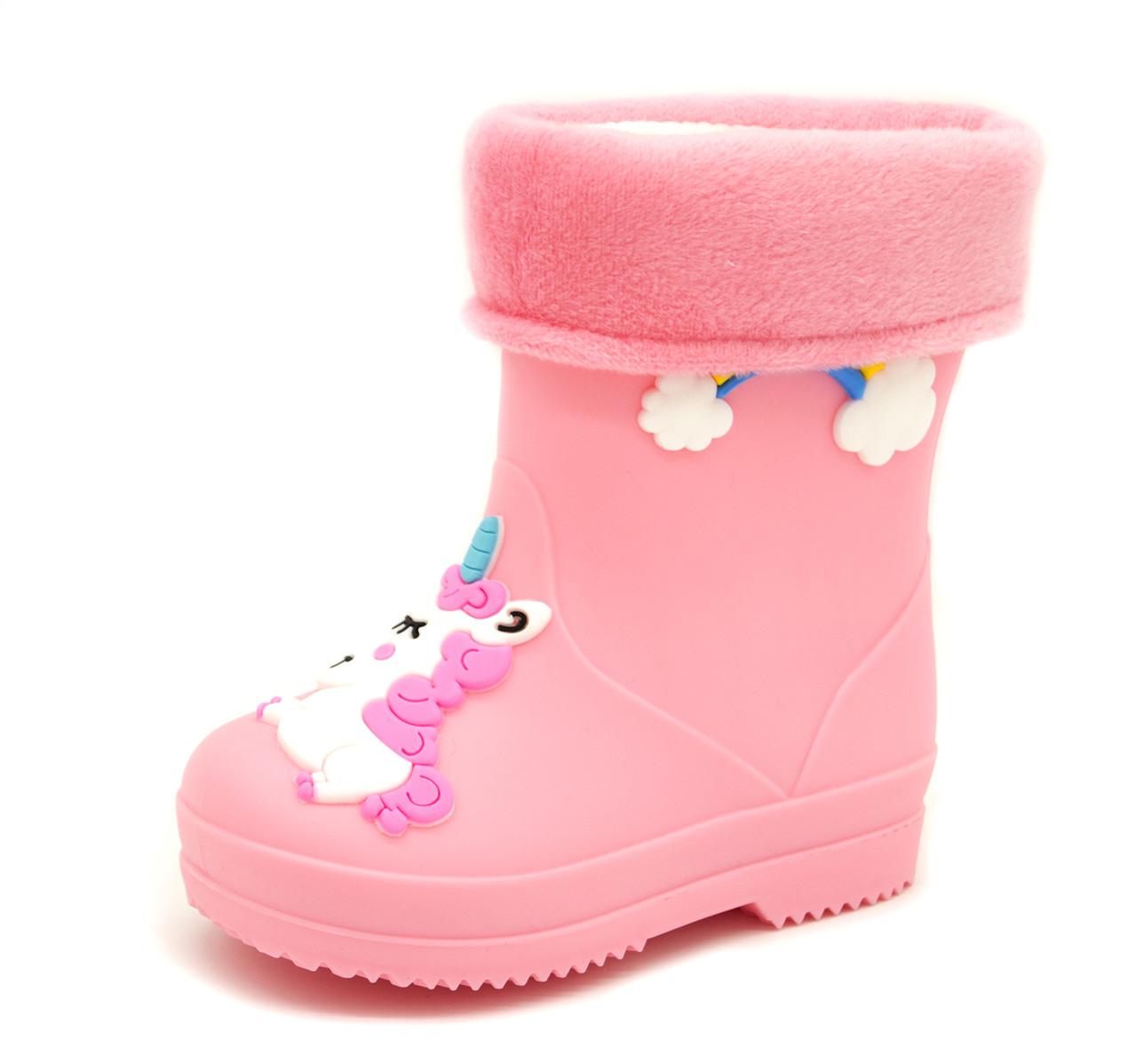 Резиновые сапоги Для девочек Розовый Размеры: 24,25,26,27,28