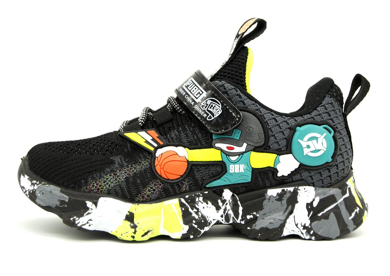 Кроссовки Для мальчиков Черный с разноцветными вставками Размеры: 32,33,34,35,36,37
