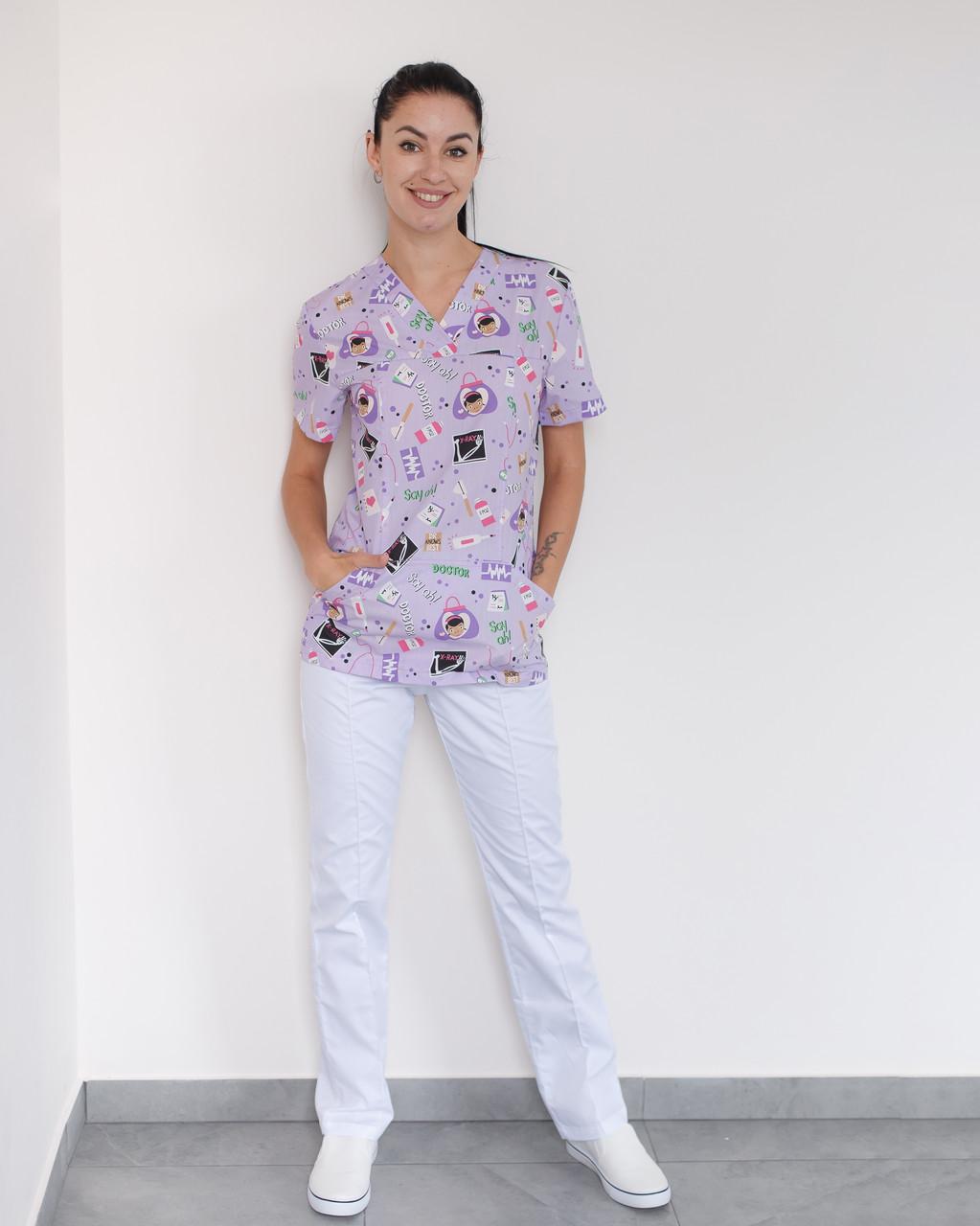 Медичний жіночий костюм Топаз принт Teeth smile