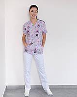 Медичний жіночий костюм Топаз принт Teeth smile, фото 1