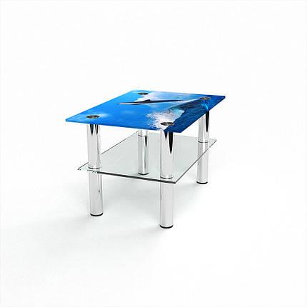 Стеклянный  стол журнальный столик из стекла БЦ Стол Прямоугольный с полкой с фотопечатью Dolphin, фото 2