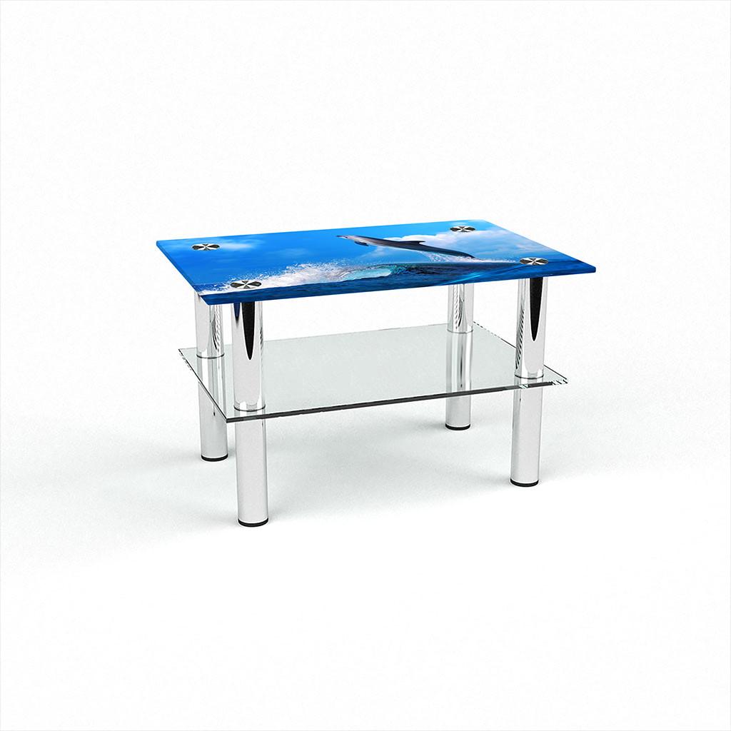 Стеклянный  стол журнальный столик из стекла БЦ Стол Прямоугольный с полкой с фотопечатью Dolphin
