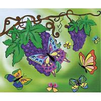 Картина раскраска на холсте Оксамитові метелики 25х30см Идейка 7106/2 набор для росписи, краски, кисти, холст