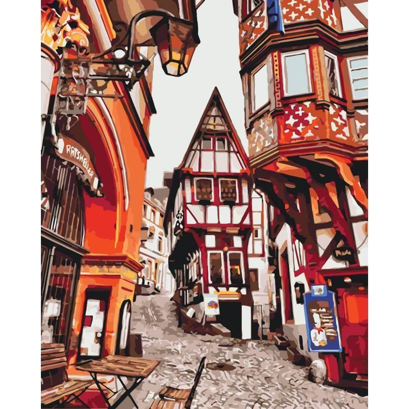 Картина по номерам. Городской пейзаж Яркие улицы Германии 40*50см KHO3539