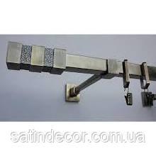 Карниз для штор металевий НЕПТУН однорядний Квадро 20*20 мм 2.0 м Античне золото