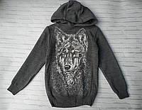 Поростковый батник для мальчика с капюшоном Волк 9-11 лет, цвет уточняйте при заказе, фото 1