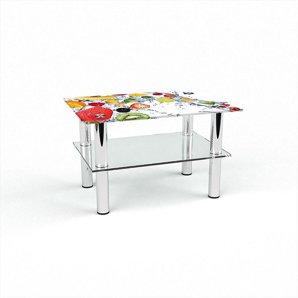 Стеклянный  стол журнальный столик из стекла БЦ Стол Прямоугольный с полкой с фотопечатью Fruit Shake