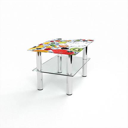 Стеклянный  стол журнальный столик из стекла БЦ Стол Прямоугольный с полкой с фотопечатью Fruit Shake, фото 2