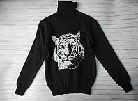 Детский трикотажный свитер под резинку горло с подворотом Тигр 6-8 лет, цвет уточняйте при заказе, фото 1