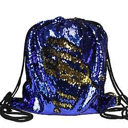 Рюкзак мешок на шнурках с пайетками для сменной обуви синий