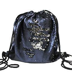 Рюкзак мешок на шнурках с пайетками для сменной обуви темно-синий