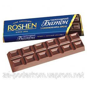 Батончик шоколадний з начинкою крем-брюле 43г (синя упаковка) , ROSHEN