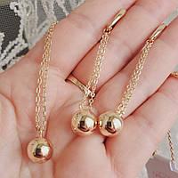 Комплект серьги шарики  и кулон шарик с цепочкой 1мм 45+3см Xuping позолота 18К медицинское золото 7716