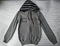 Детская кофта для мальчика на молнии с капюшоном в полоску 6-8 лет, серого цвета