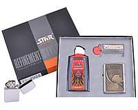 Зажигалка бензиновая в подарочной коробке (Баллончик бензина/Кремень/Фитиль) American Legend