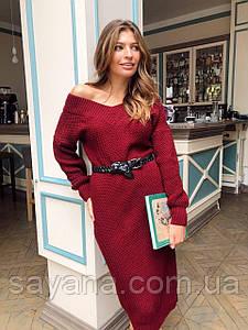 Женское вязанное платье с V-образным вырезом, 2 цвета М-1-0221