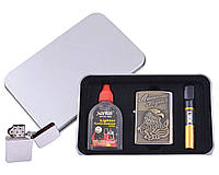Зажигалка бензиновая в подарочной коробке (Баллончик бензина/Мундштук) American Legend