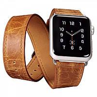 Ремінець шкіряний Icarer для Apple Watch Classic Genuine Leather Quadri-Watchband Series-38mm (orange), фото 1