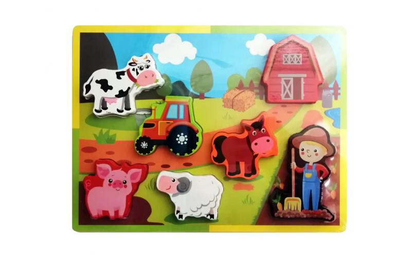 Деревянная игрушка Рамка-вкладыш MD 2195 (Ферма)