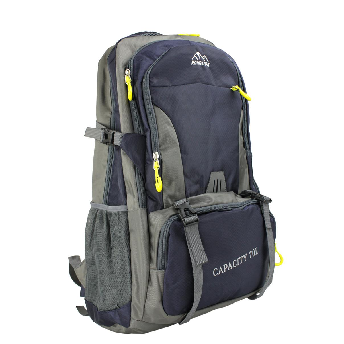 Рюкзак туристичний похідний темно-синій Ronglida 70 л