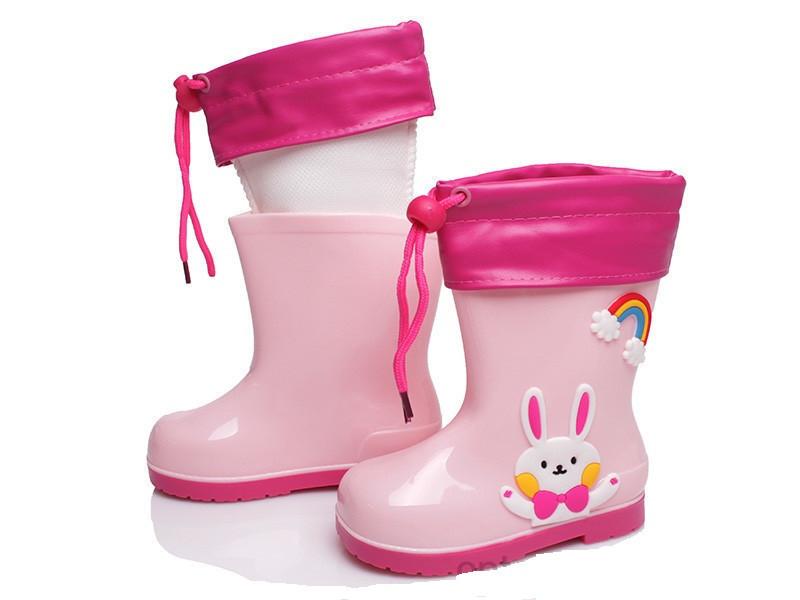 Резиновые сапоги для девочки KIDSMIX Зайчик розовые размеры 26-30