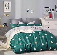 Постельное белье двоспальное, зеленое в сердца (комплекты двоспальный, полуторный, семейный, євро)