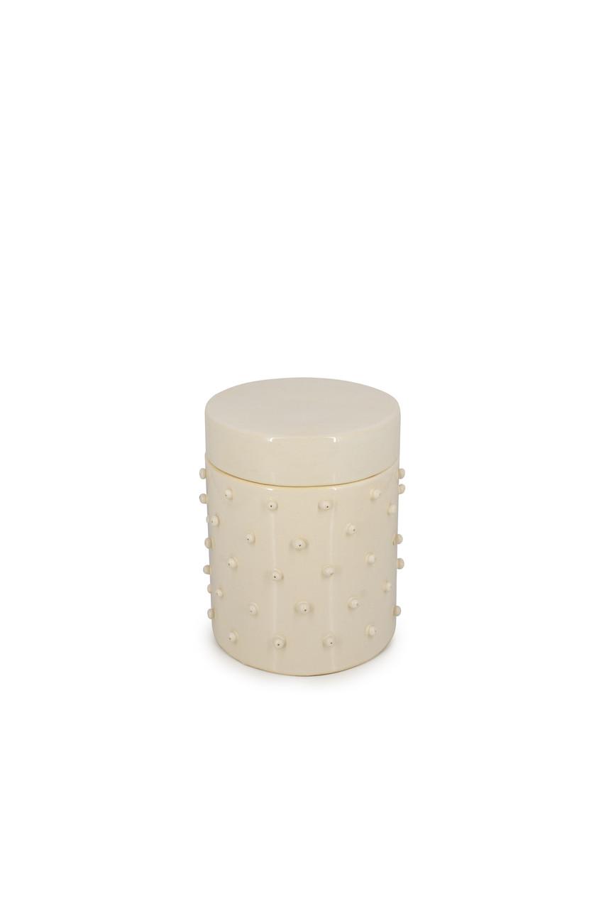 """Баночка керамічна """"Для приємних дрібниць"""" Керрі біла h=15,5 см, ручна ліпка"""