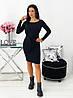 Плаття жіноче чорне з палітуркою з ангори рубчик (4 кольори) АА/-111402