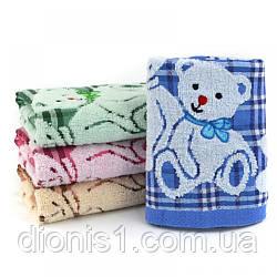 Банное махровое полотенце Мишка лен махра 6 шт в уп. Размер 1.4х70 Хлопок