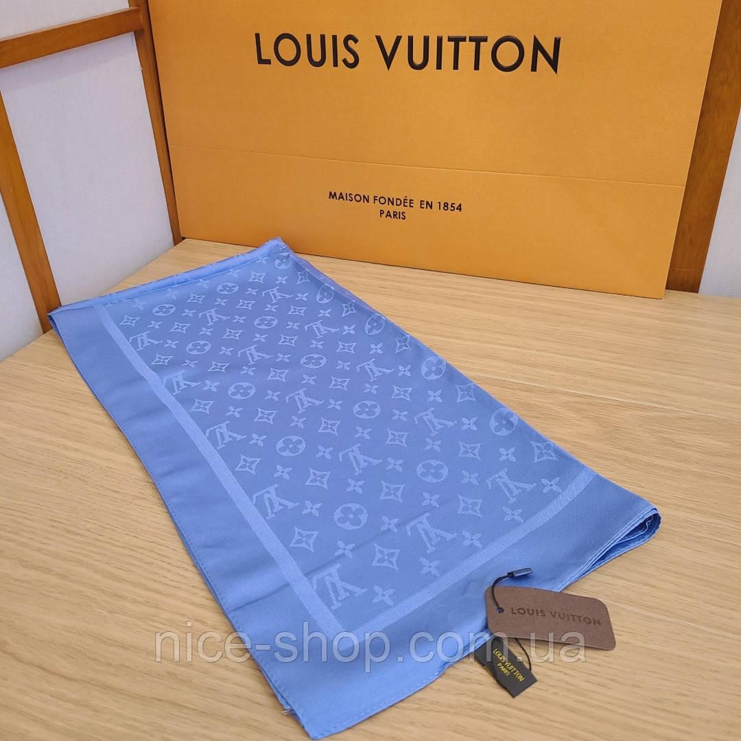 Платок Louis Vuitton шелк голубой васильковый