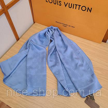 Платок Louis Vuitton шелк голубой васильковый, фото 3