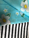 Постельное белье двоспальное, голубая с цветами (комплекты двоспальный, полуторный, семейный, євро), фото 2