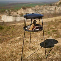 Сковорода из диска с подставкой для огня и крышкой 40 см на высоких ножках