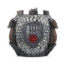 Кружка Чашка Бокал Игра Престолов Fire and Blood Targaryen 3D Дом Таргариен Таргариены