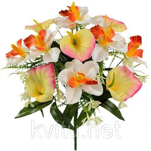 Искусственные цветы букет орхидей и каллы, 40см
