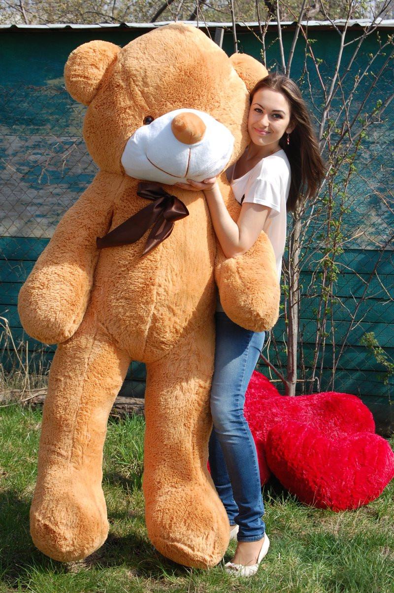Плюшевый Мишка в Подарок. Большой Плюшевый Медведь 200 см Карамель. Большая Мягкая игрушка Мишка Плюшевый.