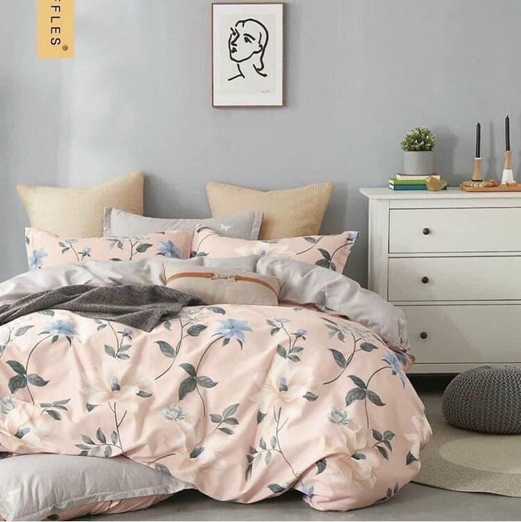 Постільна білизна двоспальное, рожева з сірим (комплекти двоспальний, полуторний, сімейний, євро)