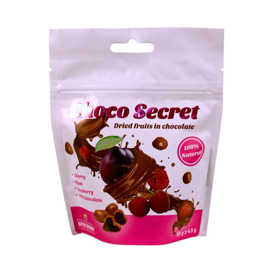 Конфеты из сухофруктов в шоколаде Choco Secret. Вишня в ягодно-фруктовой оболочке, 50 г