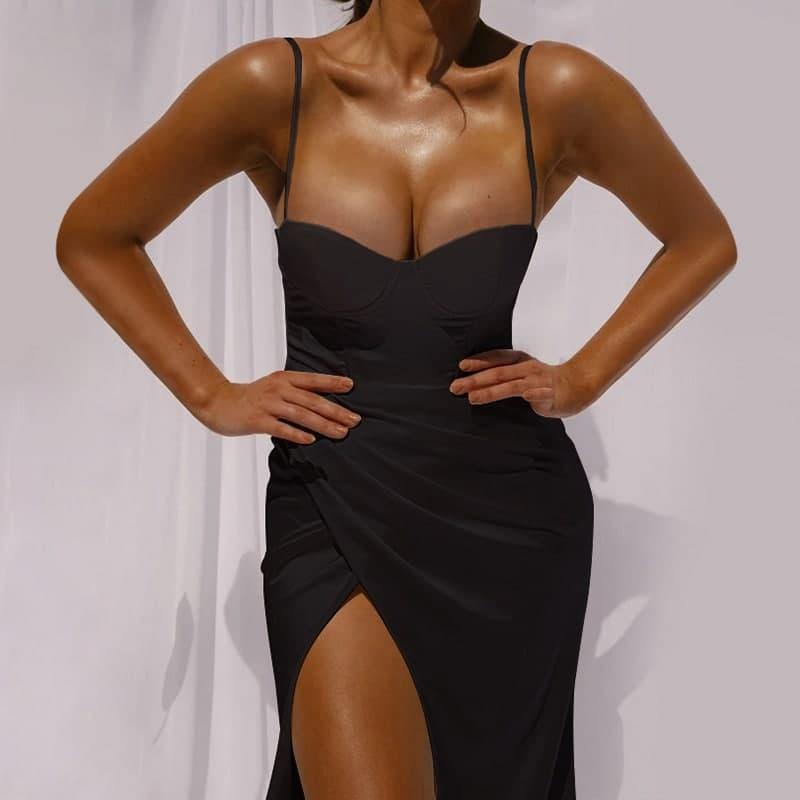 Платье вечернее на бретелях с имитацией запаха и чашками (р. 42-44) 83py2077
