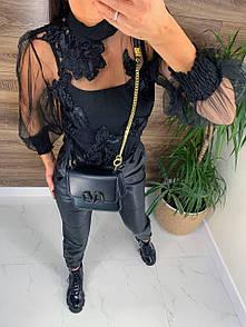 Прозрачная блуза черная из сетки с пришитыми цветами и топом в комплекте (р. 42-44) 81ru438