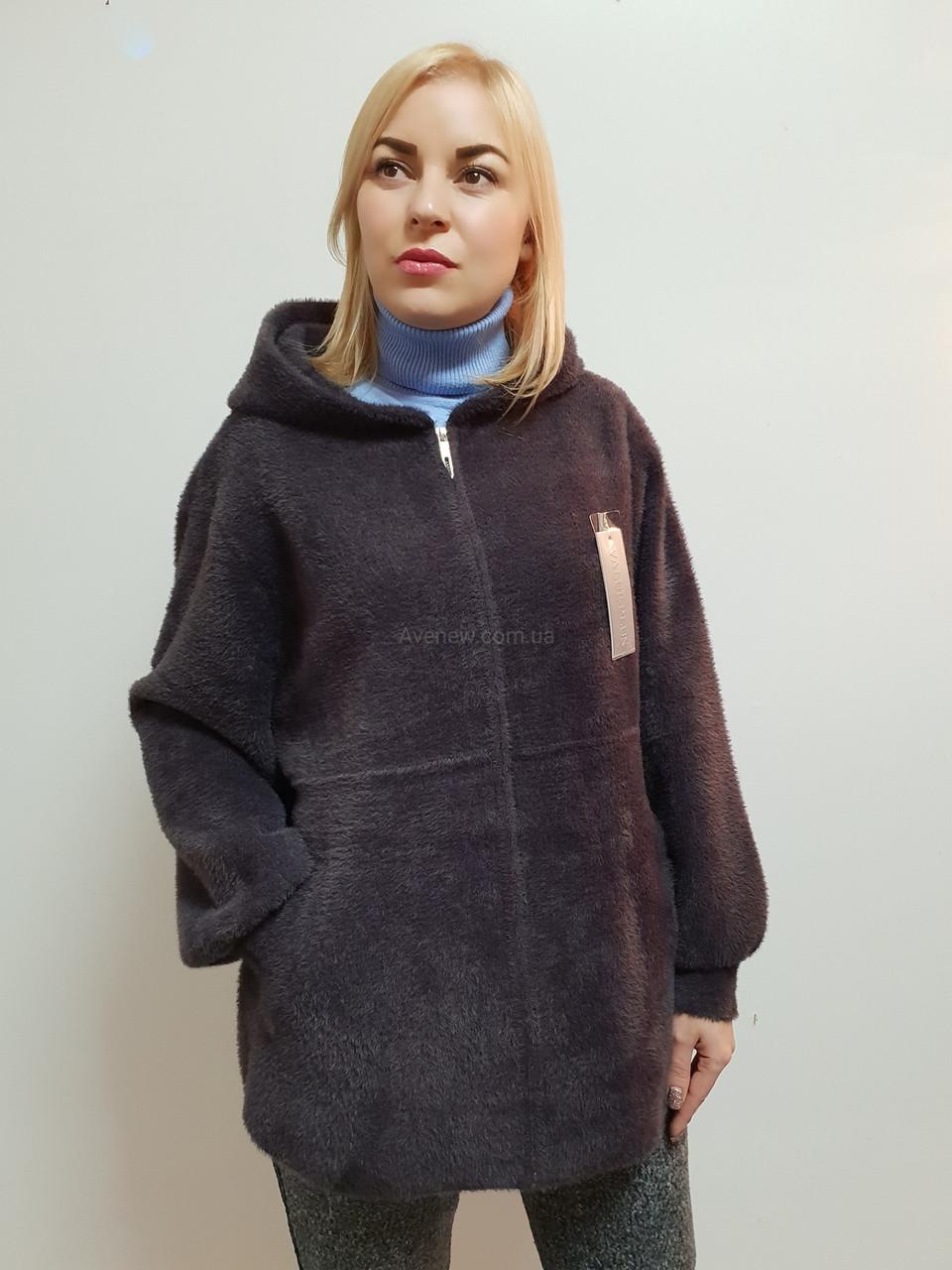 Жіноче пальто з капюшоном з вовни альпака