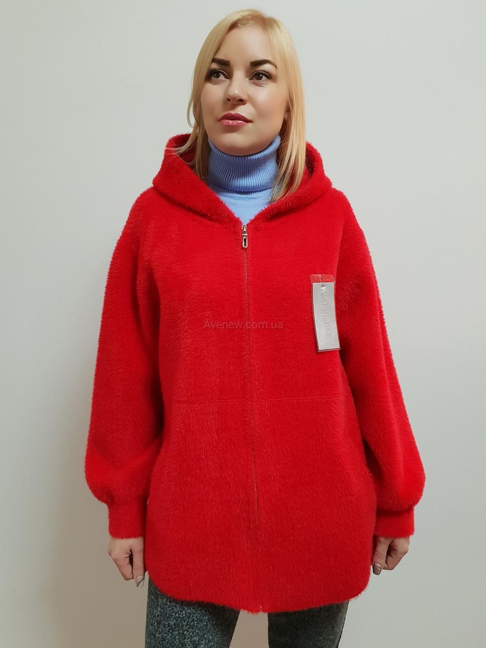 Женское пальто с капюшоном из шерсти альпака