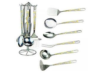 Набір кухонного приладдя на стійці з золотистим декором RAINSTAHL 7пр 8157-7-RS