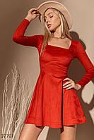 Красное платье с акцентным вырезом XS,S,M,L, фото 1