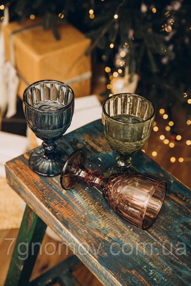Набор 6 бокалов для вина из цветного стекла разных цветов Виктори